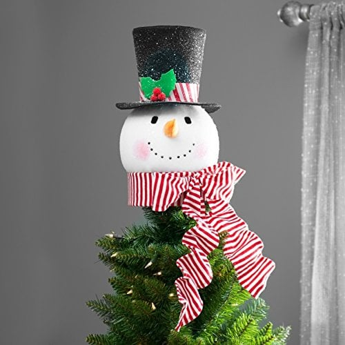 this peppermint red hat snowman tree topper 48 will fit perfectly on a real
