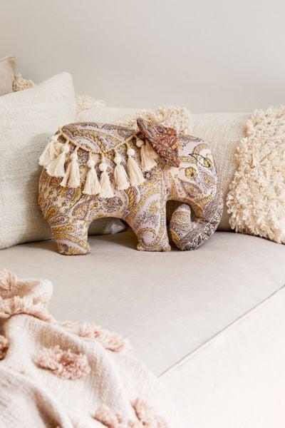 Boho Elephant Throw Pillow