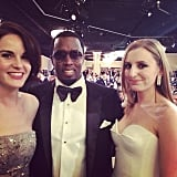 Diddy posed with the Downton Abbey girls at the Golden Globes. Source: Instagram user iamdiddy