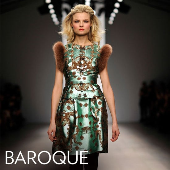 """Why we love them: The rich embroidery, brocade, and embellishment of the Baroque trend make for totally fabulous Fall dressing. It's opulent, yes, but it translates surprisingly well to little shift dresses you can easily wear in your own day to day — of course, this trend also has """"holiday party dress"""" written all over it. How to wear them: Temper a brocade, dark lace, or gold-embellished Baroque-feeling number with opaque black tights and staple black ankle boots or pumps. When styling up a statement piece like this, keep your details simple and let the dress take center stage. In this photo: Issa Fall 2012"""
