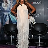 Beyoncé Knowles in a white Lanvin dress.