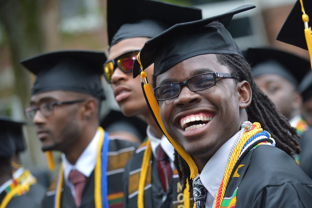 A Morehouse grad smiled during the commencement.