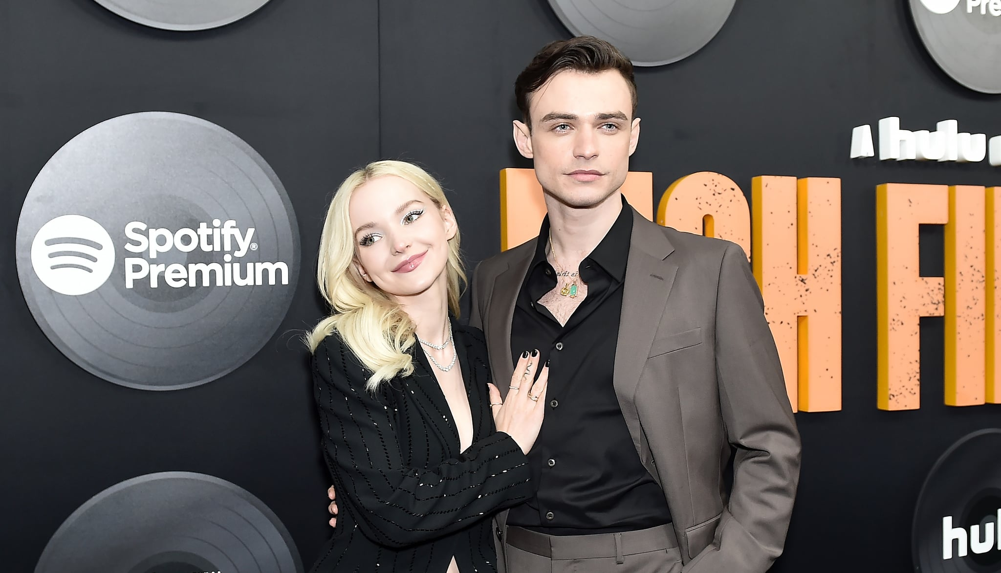 NEW YORK, NEW YORK - FEBRUARY 13: Dove Cameron and Thomas Doherty attend Hulu's