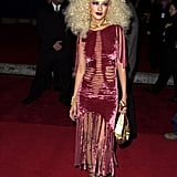 Christina's Velvet Dresses Had Slashes and Peek-a-Boo Fringe