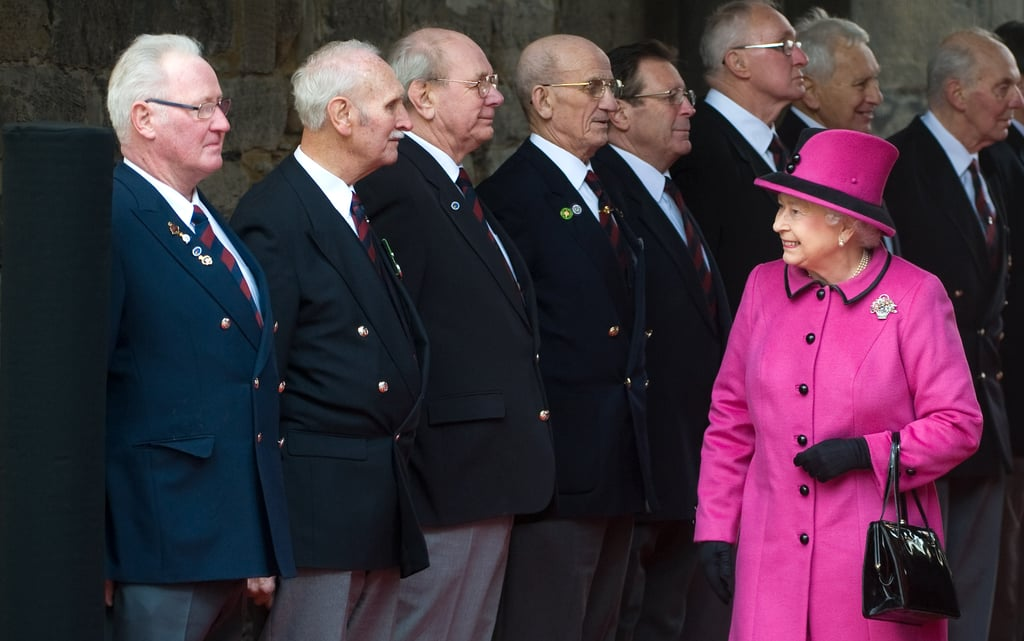 The queen stood out in bright pink.