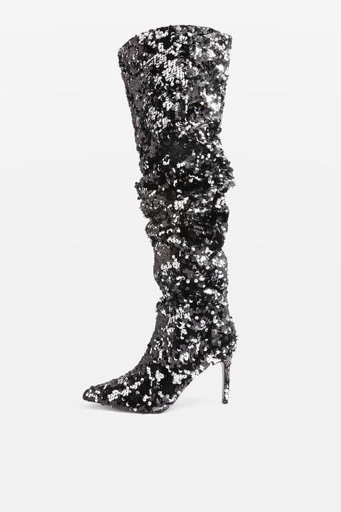 Topshop Bejeweled Knee-High Sequin Boots