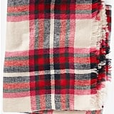 Ivory Plaid Blanket Scarf ($40)