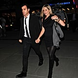 For a night out in September 2011, she wore her tights with a ruched LBD and heels.
