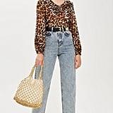 Topshop Leopard Print Ruffle Blouse