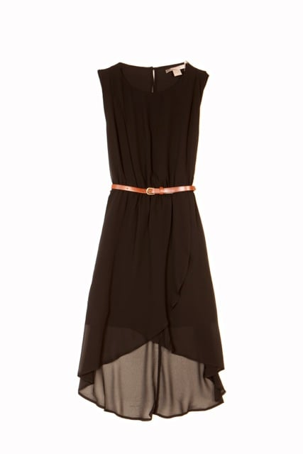 A simple style like Forever 21's deep brown sleeveless dress ($23) gets a trendy touch thanks to a high-low hemline.