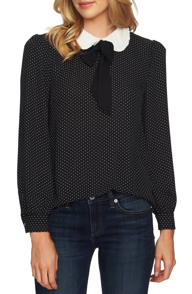 CeCe Refined Pin Dot Collared Tie-Neck Blouse