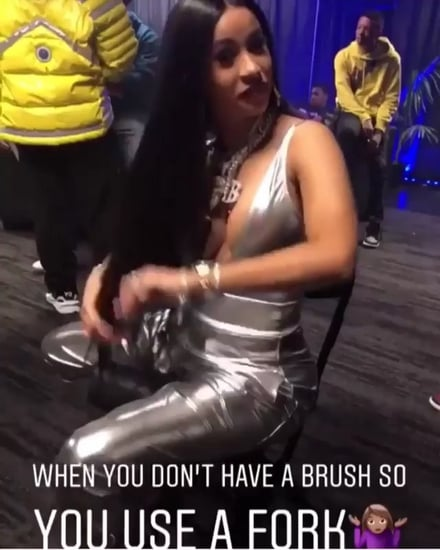 Cardi B Brushes Her Hair With a Fork 2018