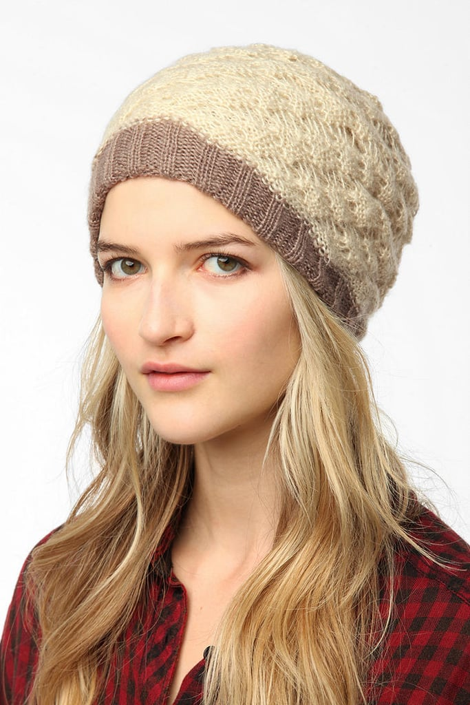 We love this UO layered crochet beanie ($29) because it has a distinct vintage vibe that makes us want to show it off against a fun mix of layers.