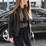Jessica Biel wore a black ensemble for a Paris shopping day.