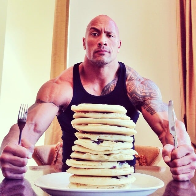 """""""Hell, I thought every day was National Pancake Day... #Dominator #UncleJemima,"""" Dwayne Johnson posted. Source: Instagram user therock"""