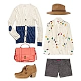 """This is as good a time as any to break out a pair of tweed shorts — the silhouette is great for the still-warm weather, but the fabric says """"crisp Fall day"""" rather than """"day at the beach."""" Pair your cardigan with a silky printed blouse and ankle boots, then accessorize with a wide-brimmed wool hat and colorful satchel for school. Get the look:   Madewell Colorblock Heartnote Cardigan ($72)  Reiss Ava Wide-Brim Trilby Hat ($105)  Tucker Printed Silk Georgette Top ($299)  Alice + Olivia Tweed Shorts ($157, originally $261)  Rag & Bone Leighton Leather Ankle Boots ($495)  Proenza Schouler PS1 Large Leather Satchel ($1,995)"""