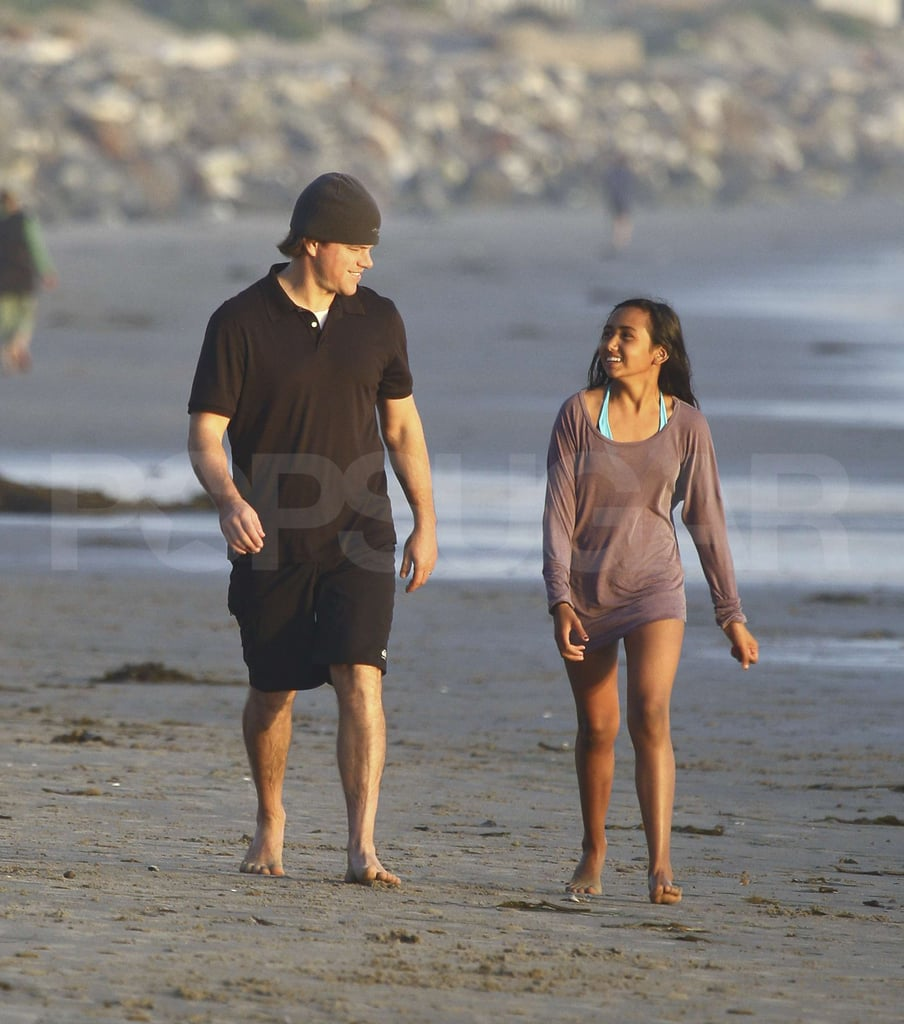 Matt Damon provided lots of snacks and sandwiches at a party in Malibu on Saturday. Baby Stella made an appearance in his arms as he mingled with friends at the bash. He chatted with wife Luciana's eldest daughter Alexia, who tested out the water in a kayak. Matt's beloved Patriots didn't make it to Sunday's Super Bowl, but he still got in the fun with a video teasing Green Bay coach Mike McCarthy. Matt has been hard at work in LA  on his next movie We Bought a Zoo, but he'll soon trade the set for the red carpet to promote The Adjustment Bureau. Matt also may grace the Oscars with his presence since True Grit is up for best picture — make your Academy Award picks with