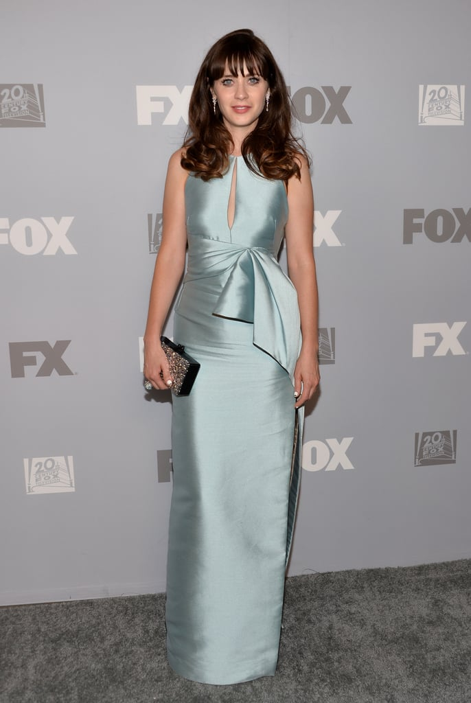 Zooey Deschanel made a stunning arrival at Fox's Emmys afterparty.