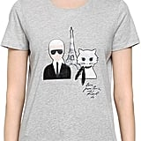 Karl Lagerfeld & Choupette In Paris Cotton T-Shirt
