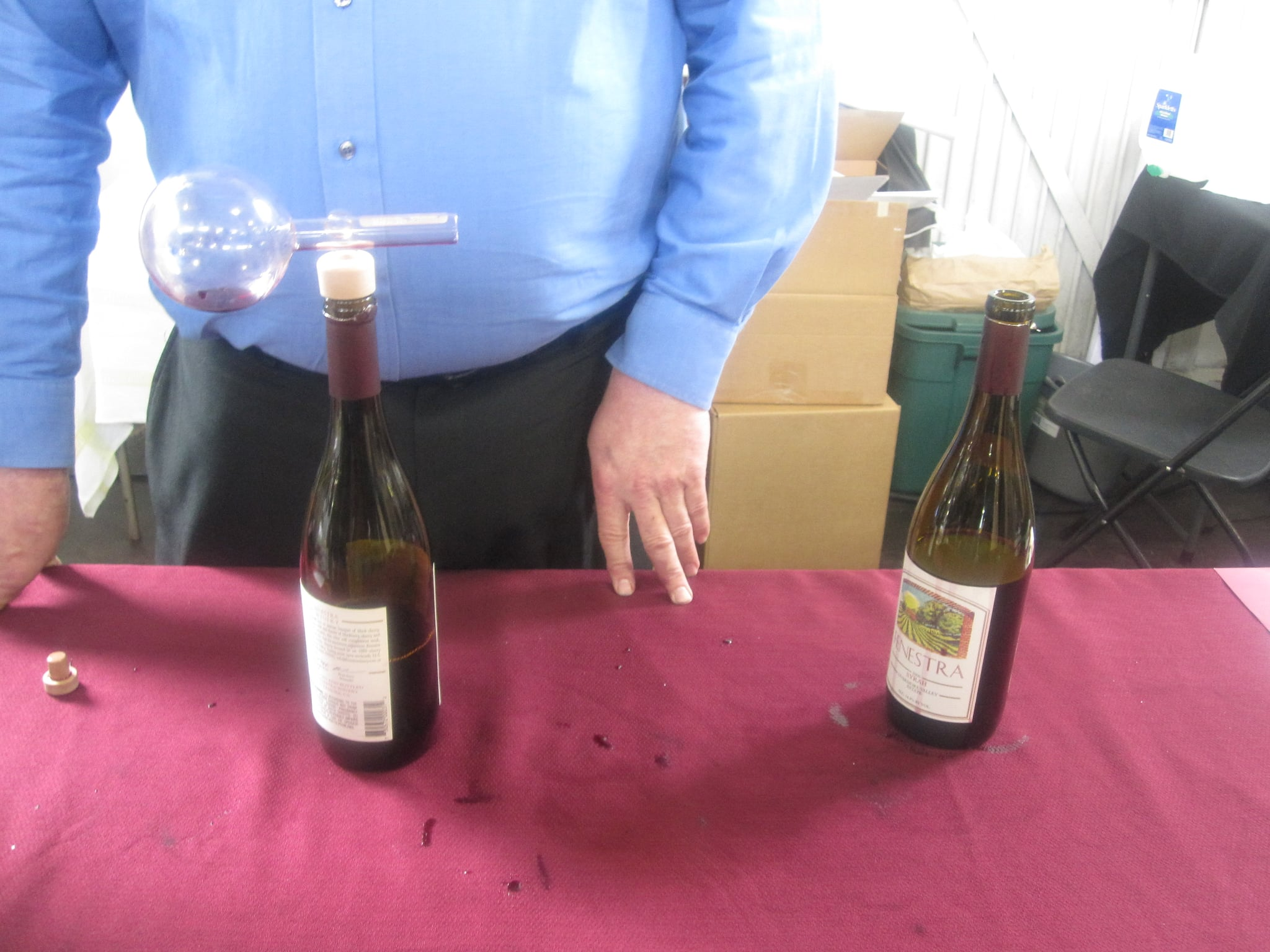 ...but one had been aerated and the other had not. The aerated wine tasted fuller and more balanced.
