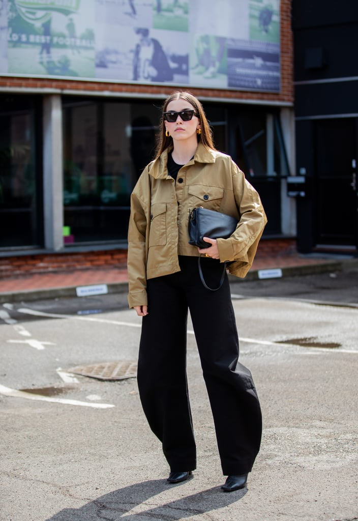 Fall Outfit Idea: Cropped Jacket + Wide-Leg Pants