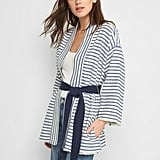 Gap Cotton-Linen Stripe Wrap Jacket