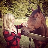 Nicky Hilton got up close and personal with a horse. Source: Instagram user nickyhilton