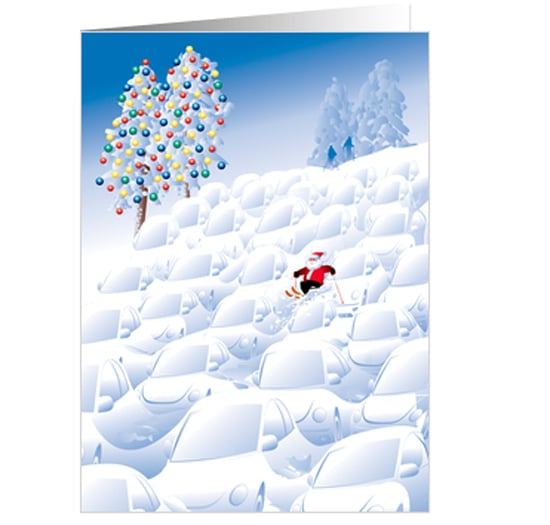 No need for a sled when you can catch air on the slopes.   Santa Ski card ($3)