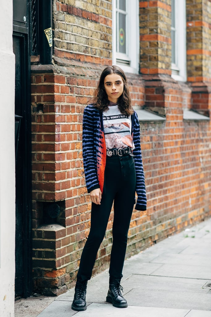 Wear a vibrant cardigan with a cool vintage tee and high-waisted jeans. This look works just as well with pumps as it does with combat boots.
