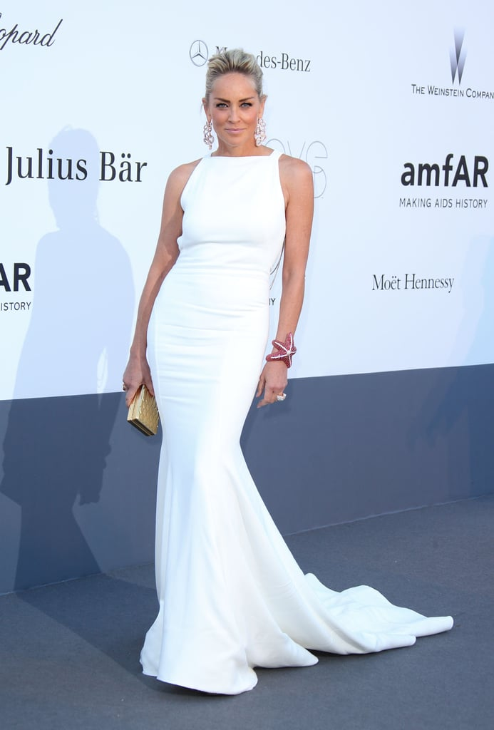 Sharon Stone was a vision in a white mermaid-style Roberto Cavalli gown at the amfAR Cinema Against AIDS gala.