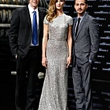 Rosie Huntington-Whiteley, Shia LaBeouf, Michael Bay at a Berlin premiere for Transformers: Dark of the Moon.