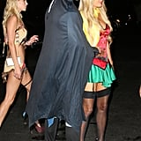 Paris Hilton and River Viiperi went as superheroes.