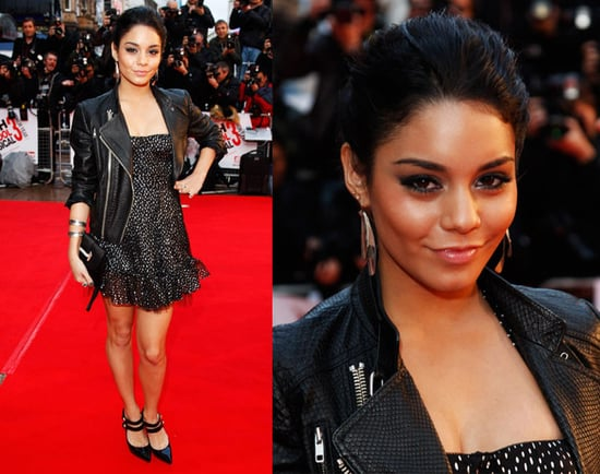 Vanessa Hudgens Attends High School Musical 3: Senior Year UK Premiere in Simone Dress And Leather Jacket
