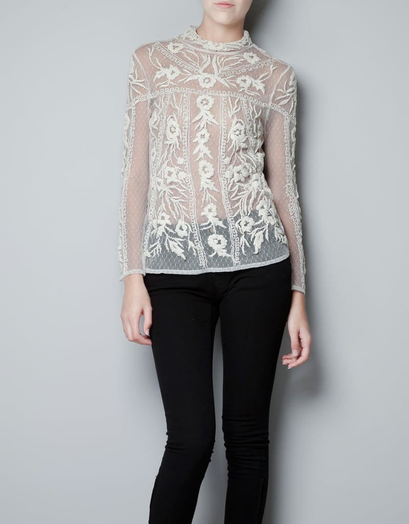 Zara Top With Embroidered Swiss Dot Flowers ($60, originally $80)