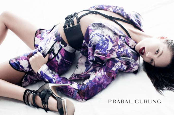 "We almost didn't recognize Candice Swanepoel in the Prabal Gurung ad — we love the dark hair — and floral print separates inspired by artist Nobuyashi Araki's photographic series, ""Sensual Flowers."""