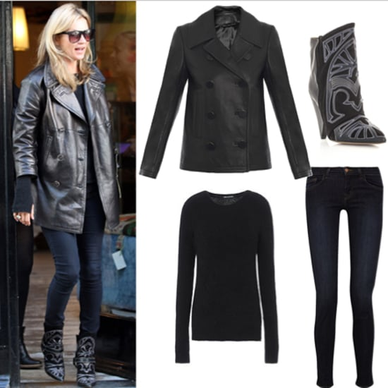 Kate Moss' Isabel Marant Embroidered Boots Mulberry Peacoat