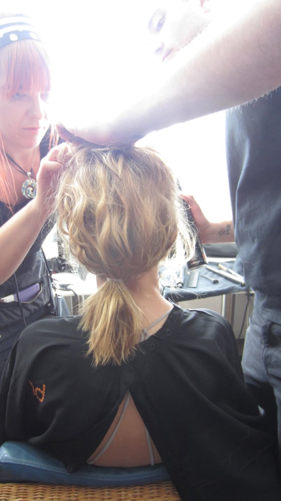 How to? Alan used the Ghd Total Volume Foam from roots to ends and dried hair with a diffuser to create movement. Curl random sections and once cool, brush hair through and gather hair into a low ponytail and secure. Leave soft pieces out around the hairline and place fringe on top.