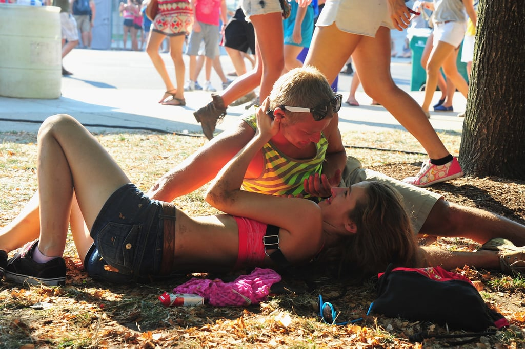Two fans showed the love during Lollapalooza at Grant Park in Chicago.