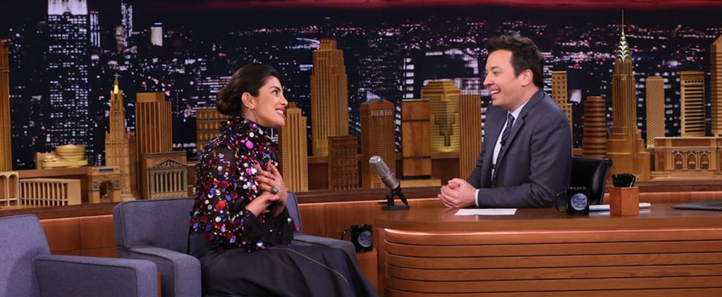 Priyanka Chopra Sequin Top and Clear Heels on Jimmy Fallon