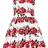 Quiz white satin rose print prom dress (£55)