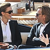 Emily Blunt and Ewan McGregor wore matching suits and sunglasses while filming a commercial in Portofino, Italy, on Sunday.
