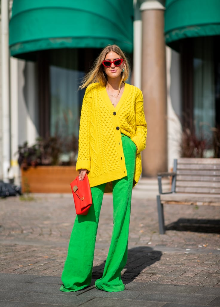 Go bright with an oversized cardigan and contrasting pants in an equally bold hue.