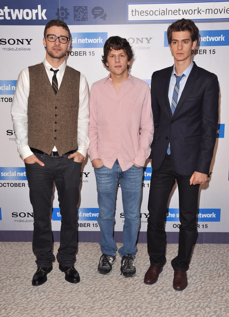 Justin Timberlake, Andrew Garfield and Jesse Eisenberg Promoting The Social Network in London