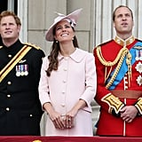 Harry, Kate, and Will looked up in unison during the flypast of military aircraft.