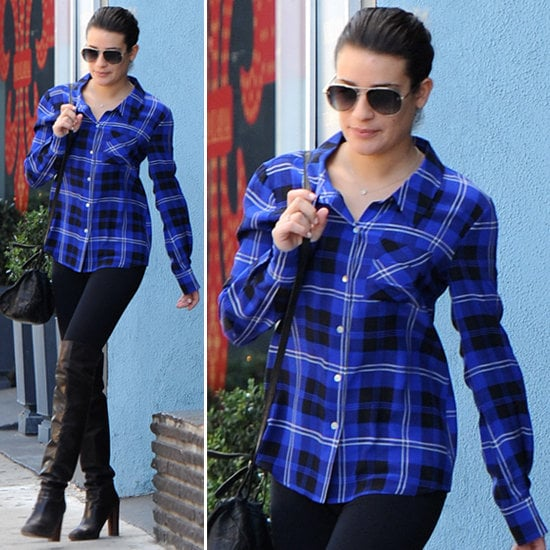 Be inspired by Lea Michele's off-duty style, and wear plaid like a pro.