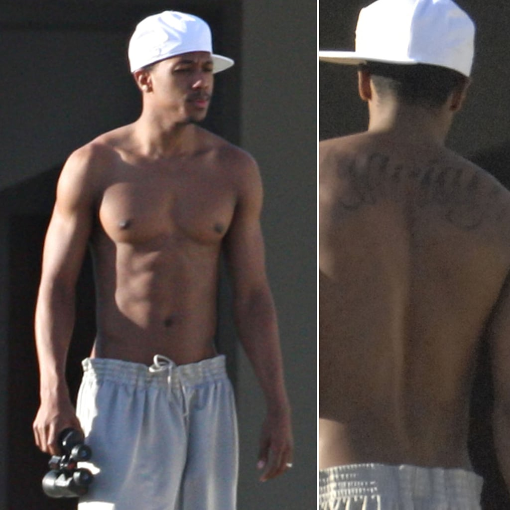 """Nick Cannon braved through a long tattoo session when he got """"Mariah"""" inked on his back. After the couple's split in 2014, Nick covered it up with an elaborate design."""