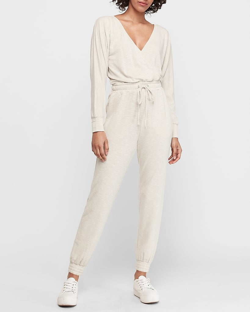 Soft Wrap-Front Lounge Jumpsuit