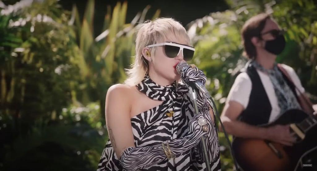 Miley Wearing a Zebra Print MM6 Maison Margiela Dress