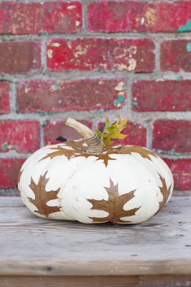 Decoupage Leaves Pumpkin