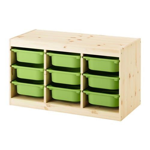Trofast Storage Combo in Light White With Green Storage Boxes